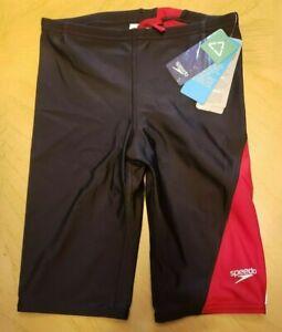 NWT Speedo Boys 28 PowerFLEX Eco Black with Red Trim Jammer $49