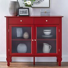 Wood Buffet Storage Display Cabinet w/ Glass Doors in Red Finish