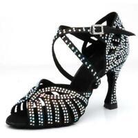 Scarpe da ballo nere latino donna strass argento sandali su misura salsa liscio