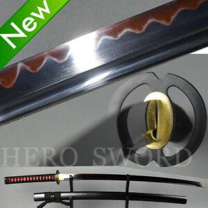 Clay Tempered T1095 High Carbon Steel Katana Red Hamon Black Blade Samurai Sword