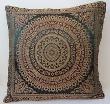 Green Dark Mandala Cushion Covers Antique Style Banarasi Indian 38cm