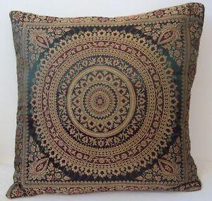 Green Dark Mandala Cushion Covers Antique Style Banarasi Indian 38cm