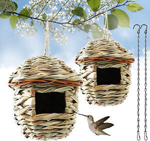 Hummingbird House, Set of 2 Hand Woven Bird House for Outdoors Hanging, Natural