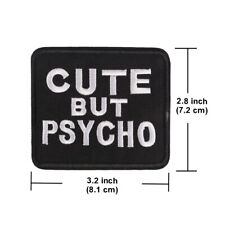 """Funny Words Phrase """"CUTE BUT PSYCHO"""" Punk Iron ON Patch for Jean Clothes"""