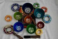 7 piece Vibrant Chakra sound therapy bowl set, Tibetan bowl for healing