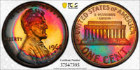 1968-S Lincoln Memorial Cent Penny 1c PCGS PR66 RB  AWESOME RARE RAINBOW TONING