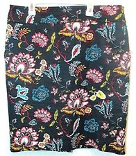 Ann Taylor Loft Womens Pencil Skirt Stretch Lined Green Pink Floral Print Sz 12