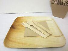 50 PACK 15cm SQUARE PLATES PALM LEAF PLATES SIDE DESSERT PLATES WOOD LOOK WOODEN