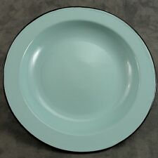 "FRENCH COUNTRY SEAFOAM GREEN ENAMEL METAL 9.5"" PLATE ~ BLACK TRIM ENAMELWARE ~"