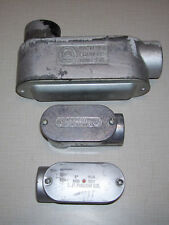 """Lot Of 3 Used Conduit Body Appleton 1 1/4"""" Form 85 & 1"""" Mason 1"""" Slb With Covers"""