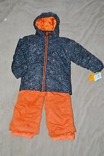 GIRLS KIDS SKI SNOW BOARD SUIT FIERCE SET JACKET BIBS NEW SMALL BLACK ORANGE