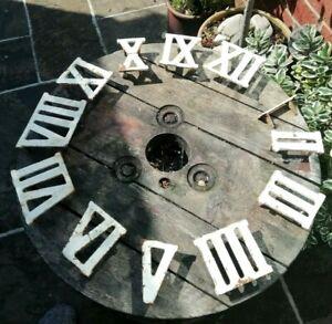 VINTAGE GARDEN GOLF GAME ROMAN CLOCK NUMERALS FULL SET CAST IRON UPCYCLE CLOCK