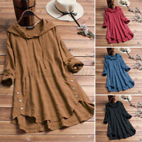 Womens Check Casual Hooded Long Sleeve Baggy Tops Loose Baggy Tunic Shirt Blouse