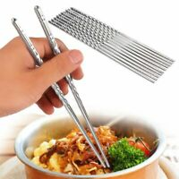 5 Pairs Chinese Stylish Chopsticks Non-slip Stainless Steel Chop Sticks Silver