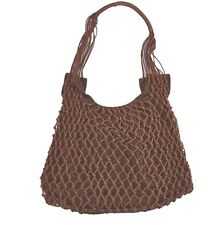 Split TIED UP  Dark Chocolate Brown Knit Exterior Snap Closure Handbag Bag Purse