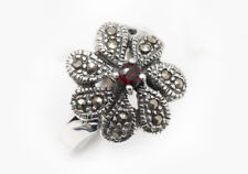 NEW MARCASITE RING SOLID 925 STERLING SILVER FLOWER, ART DECO, RETRO 62mm T 1/4