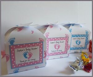Personalised Baby Shower / Christening Favour or Small Cupcake Boxes - Footprint