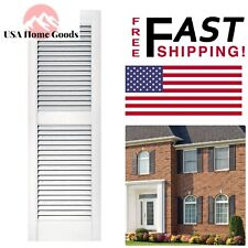 "White 15"" x 48"" Louvered Vinyl Exterior Shutters Pair Standard Size Window Decor"