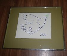 PABLO PICASSO LITHOGRAPH Blue & Green  Olive Branch DOVE OF PEACE 1961