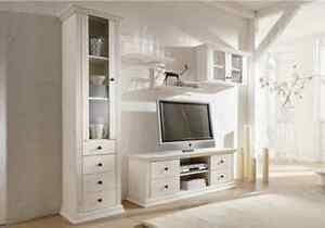 Wohnwand 5tlg Landhausstil TV Regal Schrank aus Kiefernholz weiß lackiert