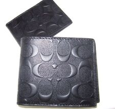 Coach Men's F75371 Compact ID Signature Embossed  Black Leather Wallet NWT$185