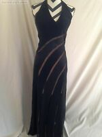 Mon Cheri Women's Dress Evening Black Satin Sheer Striped Halter Dress Size 6