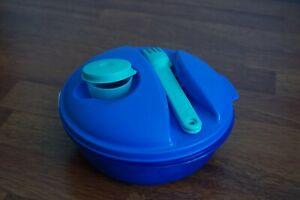 Salade on the go 1L Bleu avec couverts et mignonette Tupperware **NEUF**