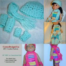 Doll Scarf Pattern 4Pc Crochet Set, Bfc Ink,American Girl CarussDesignsUsa 0057