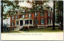 University Michigan Postcard PHI DELTA THETA Fraternity Frat House 1908 Cancel