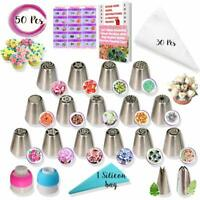 50 Pcs Russian Piping Tips Set- 15 Numbered, Easy to Use Icing Nozzles