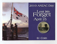 "2010 $1 Uncirculated Coin: ""Anzac Day."""