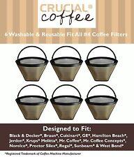 6 Washable Coffee Filters #4 Cone Black & Decker Braun Cuisinart Hamilton Beach