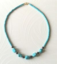 turquoise/lapis lazuli necklace gold plated beads & clasp 19.25  (c5)