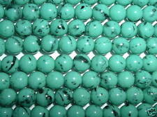 AL624 CZECH 8mm ROUND Glass Beads-TURQUOISE & BLACK (25)