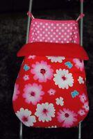 flower rose pink red black dolls pram stayput blanket/footmuff