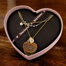 JUICY COUTURE Multi Strand Heart Charms Love Pearl & Crystal Necklace YJRU1466