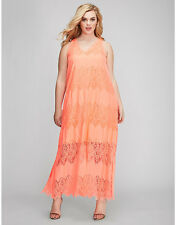 NEW LANE BRYANT PLUS SIZE BRIGHT MELON LACE MAXI DRESS SZ 26/28
