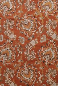 Floral Transitional Area Rug Hand-Tufted Wool Paisley Rust Indian Carpet 9'x12'