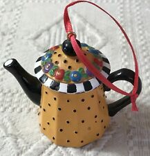 Mary Engelbreit Teapot Ornament Orange Black Dots Floral Me Ink Holiday Everyday