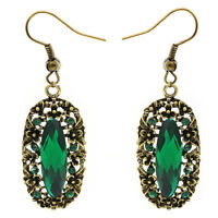 Baroque Vintage Style Long Bronze Emerald Green Dangle Long Drop Earrings E1107