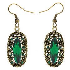 Baroque Vintage Style Long Bronze Emerald Green Dangle Long Drop Earrings E1107