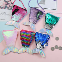 Mermaid Tail Sequins Coin Purse Girls Wallet Bags Money Holder Pouch Kids Gifts~