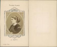 Adelina Patti, cantatrice italienne Vintage CDV albumen carte de visite, Figaro