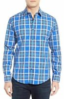 * NWT Bugatchi Shaped Fit Plaid Sport Shirt, NWT, M LAST ONE Blue