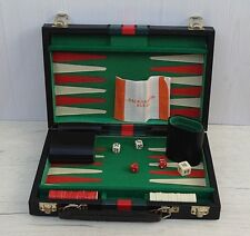 Vintage Backgammon Game with faux Leather Case  Complete with rule book