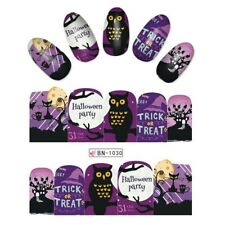 Nail Art Water Decals Stickers Transfers Halloween Trick or Treat Cat Owl BN1030