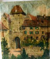 Tableau, vue d'un village du vignoble alsacien, Kayserberg.???...Huile sur toile