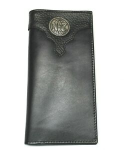 "Jack Daniels ""Old #7"" Roper Style Wallet Black Leather New in Tin"