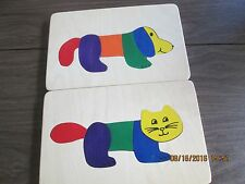 set of 2 wood puzzles, dog and cat, by Really Cute Puzzle Co, EUC, wood