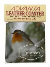 Little Robin Red Breast Single Leather Photo Coaster Animal Breed Gif, Robin-1SC